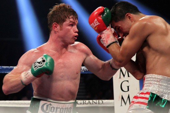 Canelo Alvarez at left pummeling Josesito Lopez (photo courtesy of http://sports.sho.com)