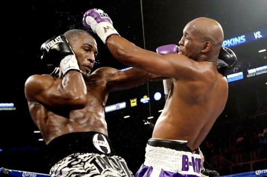 Tavoris Cloud, at left, and Bernard Hopkins exchange blow up close (photo courtesy of espn.go.com)