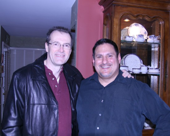 The author, Juan C. Ayllon at right with longtime CBZ contributing writer Dan Hanley at the viewing party.