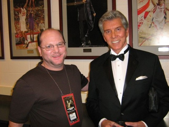 Michael Buffer, at right, with the Cyber Boxing Zone's Karl Hegman