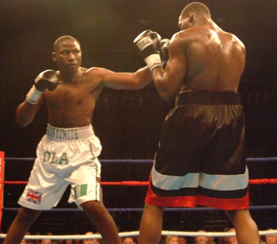 Afolabi, at left, seen defeating Eric Fields (photo by Mike Blair)