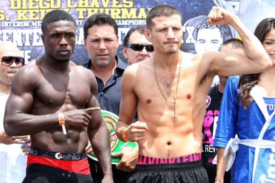 Andre Berto and Jesus Soto Karass at their weigh-in as Oscar De La Hoya looks on (Tom Casino-Showtime photo)
