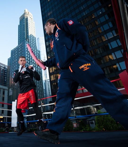 Andrzej Fonfara, at left, trains in downtown Chicago in preparation for his August 16th bout against Gabriel Campillo