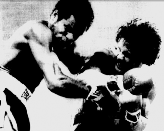 Termite Watkins, at right, shown here connecting versus Saul Mamby in a fight he lost by UD, is one of the inductees (photo courtesy of St. Petersburg Times)
