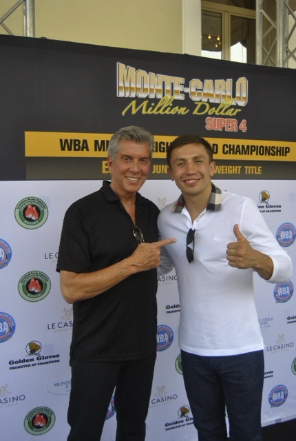 Michael Buffer, at left, with Gennady Golovkin in Monte Carlo (photo courtesy of K2 Promotions)
