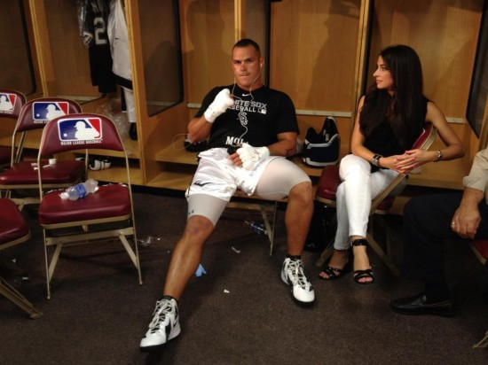 Mike Mollo reclines in the locker room earlier in the evening prior to his fight vs. Artur Szpilka (Greg Rodil photo)
