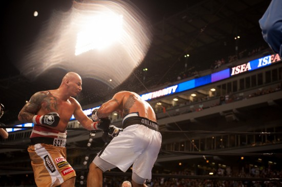 Szpilka batters Mollo (photo by Tom Barnes)