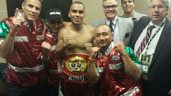 The newly-crowned Molina, at center, with his team following his win (photo courtesy of Carlos Molina's Facebook page)