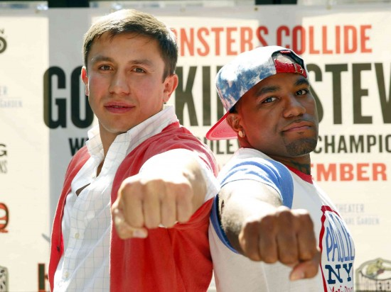 Gennady Golvokin, at left, with Curtis Stevens (photo courtesy of K-2 Promotions)