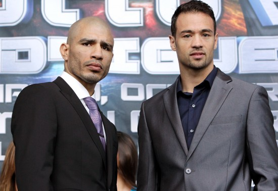 Rodriguez, at right, with Miguel Cotto today (photo by Chris Farina/Top Rank, Copyright 2013)