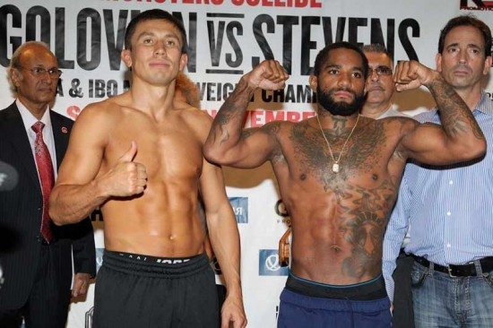 WBA and IBO Middleweight Champion of the World, Gennady Golovkin, at left, gives the thumbs up while his challenger, Curtis Stevens, flexes