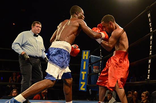 Amidu (L) stays on offense