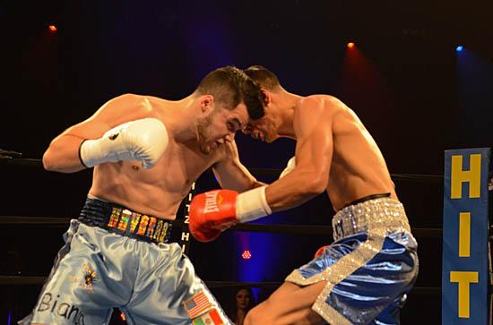 Roy Navarro (L) and Nick Ramirez trade blows