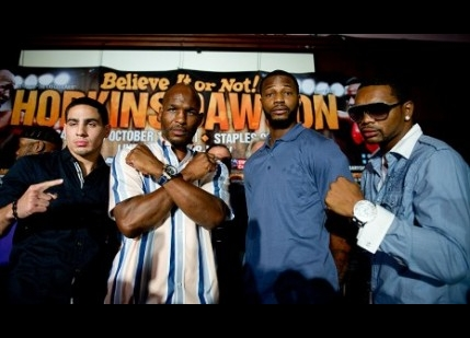 Danny Garcia, at far left, and Bernard Hopkins (second from left) will be handing out turkeys (photo courtesy of www.goldenboypromotions)