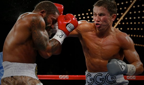 Gennady Golovkin, at right, dismantles Curtis Stevens on November 2, 2013 (photo by Will Hart at www.hbo.com)