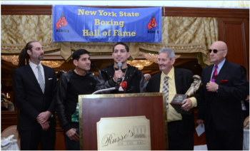 (L-R) David Diamante, head trainer/father Angel Garcia, Ring 8 Fighter of the Year Danny Garcia, Ring 8 president Bob Duffy and Ring 8 board member Tommy Gallagher. -  Photo by Stanley Janousek
