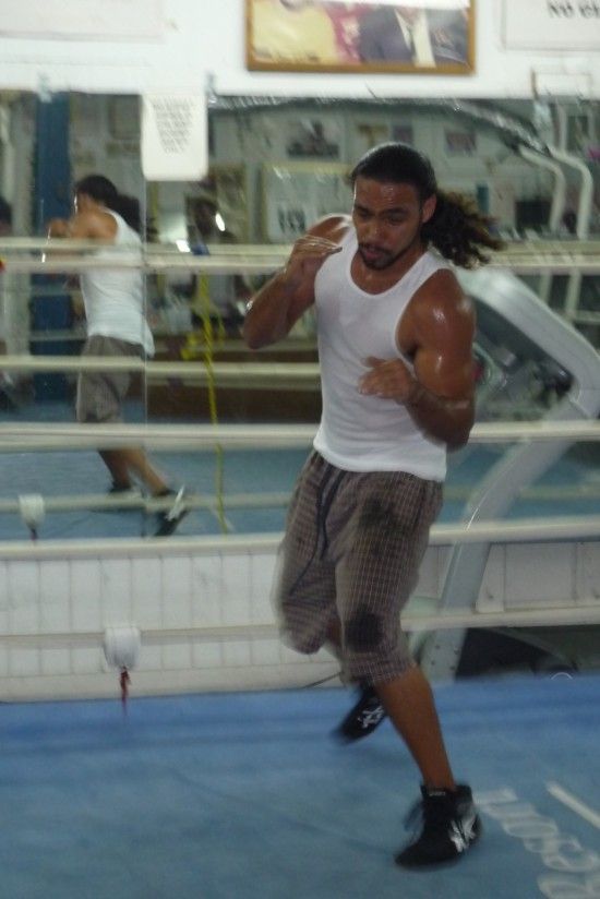 Keith Thurman, who faces Jesus Soto-Karass in the co-main this Saturday, seen shadow boxing (photo by Belle Ayllon)