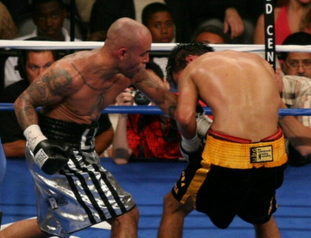 Luis Collazo, shown here at left en route to stopping Miguel Angel Gonzales in 2006 (photo by Tom Glunz)