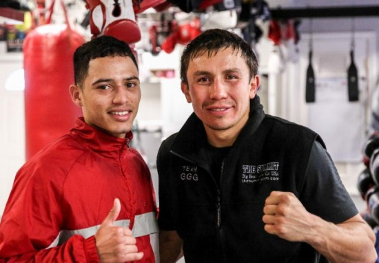 Funez, at left, with Golovkin (photo by Abel Sanchez)