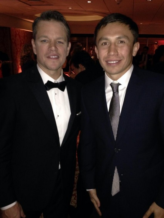 Movie star Matt Damon, at left, with Gennady Golovkin.
