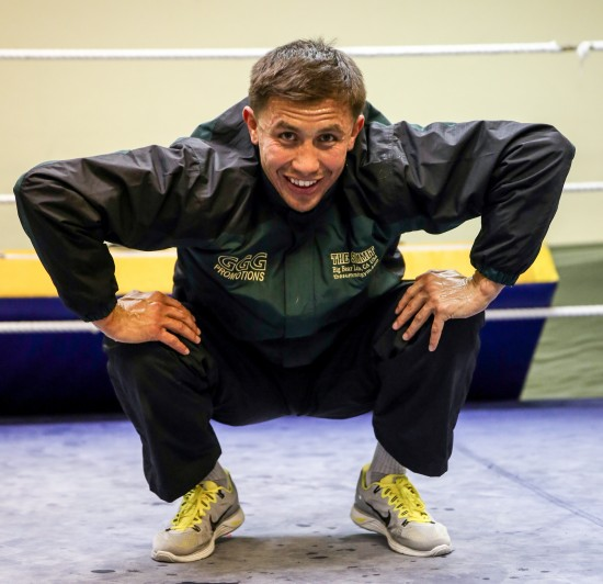Golovkin stretches out (photo by Abel Sanchez/  The Summit High Altitude Training Facility)