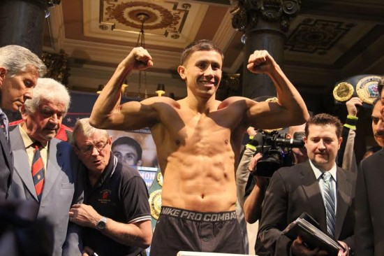 Gennady Golovkin hits the scales.