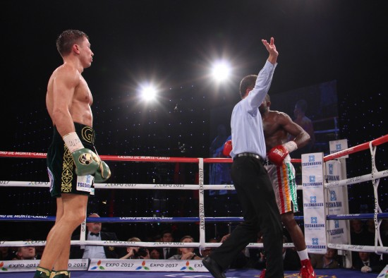 The referee waves off the carnage in the seventh round.