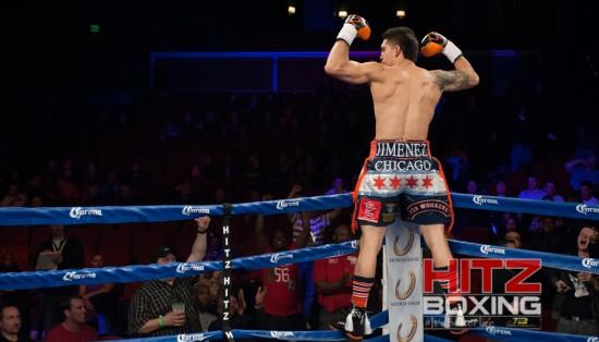 Jimenez celebrates on the ropes.