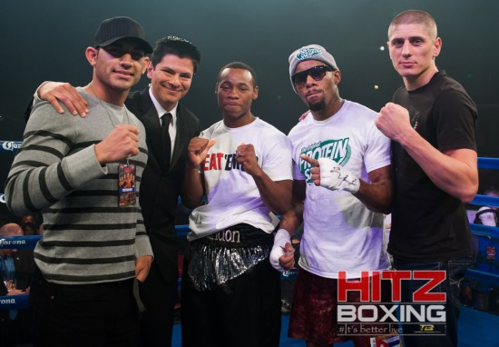 The Boxcino finalists, left to right, Gattica, ring announcer Ray Flores, Adams, Monroe and Kopylenko.