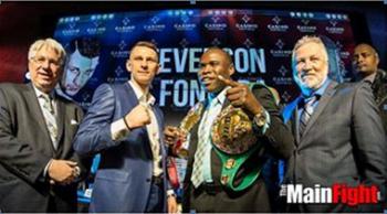 (L-R) Fonfara's promoter, Leon Margules, challenger Andrzej Fonfara, champion Adonis Stevenson, and Stevenson's promoter Yvon Michel
