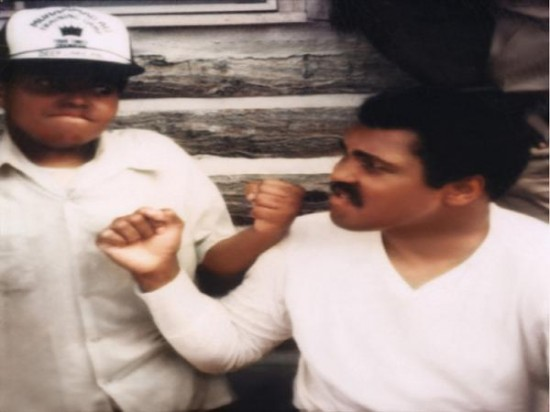 "Sam Ibrahim, at left, with ""The Greatest"" Muhammad Ali at Deer Lake, Pennsylvania in 1980."
