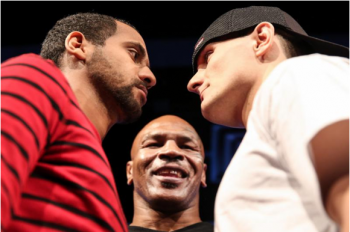 (L-R) Alexei Collado, IMP president Mike Tyson and Rod Salka  - Photo by Stephanie Trapp / SHOWTIME