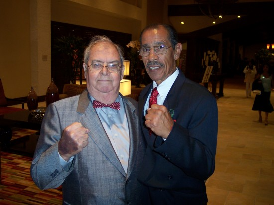 The author's late Father, Dan Hanley, Sr. (left) finally meeting up with one of his ring favorites, Gaspar Ortega, at the 2009 World Boxing Hall of Fame banquet in Los Angeles.