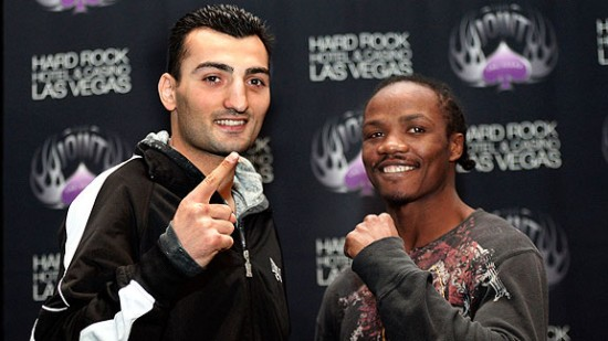 Vanes Martirosyan, at left (photo by Chris Farina - Top Rank, Copyright 2014)