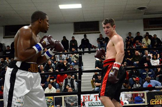 The undefeated Junior Wright, at left, in a previous bout (photo by Scott Dray)