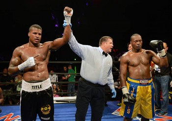Nick Asberry celebrates a hard-earned victory against James Shorter