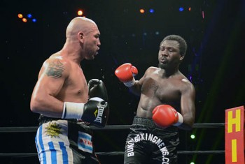 Allotey (R) unwisely leaves himself open to an attack from Ortuz