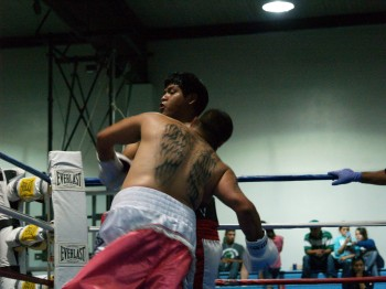 Esquivel works the body in close.
