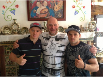 SERGEY DEREVYANCHENKO (R) AND IVAN GOLUB WITH PROMOTER LOU DIBELLA - PHOTO COUTEOUS DIBELLA ENTERTAINMENT