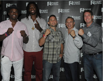 "(L-R) - Undefeated WBO middleweight champion Peter ""Kid Chocolate"" Qulllin, unbeaten world heavyweight contender Charles Martin. UFC star Frankie Edgar, boxing great Ray ""Boom Boom"" Mancini and Fight Network CEO Len Asper - Photo by Emily Harney"