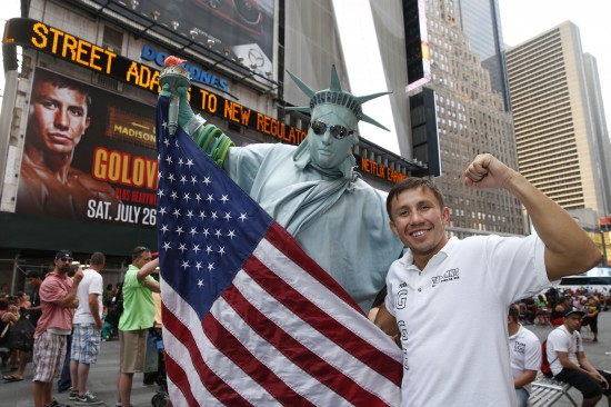 "Gennady Golovkin and a ""friend outside Madison Square Garden (photo courtesy of K-2 Promotions)"