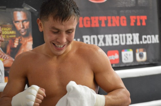 Golovkin towels down after a recent workout.