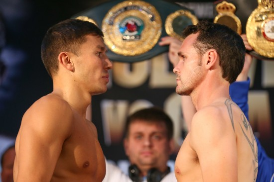 Golovkin, at left, squares off with his challenger, Geale.