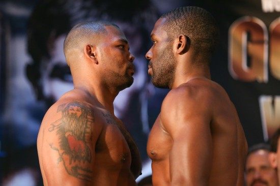 Mike Perez, at left, stares off with Bryant Jennings.