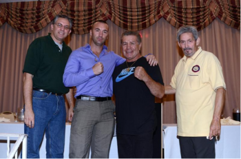(L-R) -- Bobby Cassidy Jr., Seannie Monaghan, former WBC/WBA Vito Antuofermo and  Ring 8 president Bob Duffy (photo by Stanley Janousek)