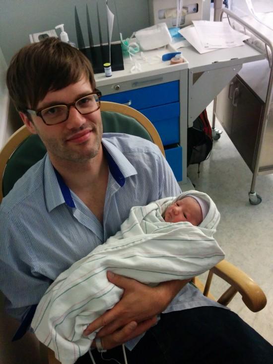 CBZ writer Chris Morgan and his newborn son, Felix.