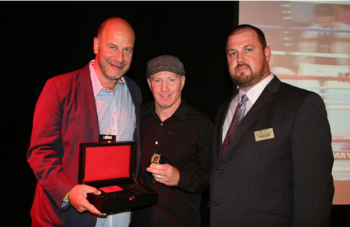 "(L-R) - Promoter Lou DiBella, ""Irish"" Micky Ward and Foxwoods host Tom Whipple   - Photo by Bob Barton / Rumble Time Promotions"