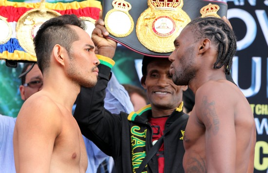Donaire, at left, and Walters at the weigh-in (photo courtesy of Chris Farina-Top Rank, Copryight 2014)