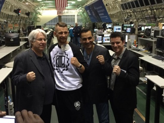 Light Heavyweight Contender, Andrzej Fonfara (second from left), is  flanked by co-promoters Leon Margulis (far left) and Dominic Pesoli (second from right) at the Chicago Boad of Options Exchange (photo courtesy of Rick Ramos)