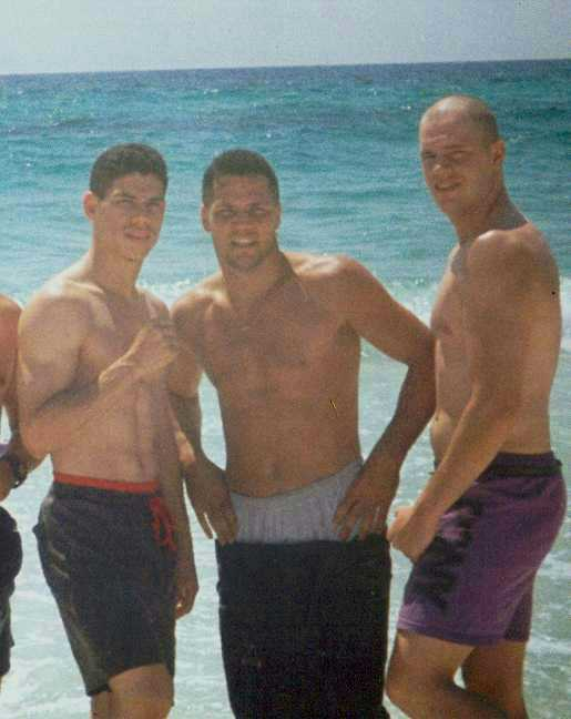 "Left to right: Jose ""Elgallo"" Rivera, ""Iceman"" John Scully, and Sean ""The Irish Express"" Fitzgerald, on the beach in Pensacola in September 1994."